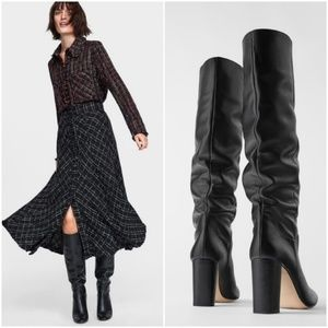 Zara high block heel leather boots, bloggers fave